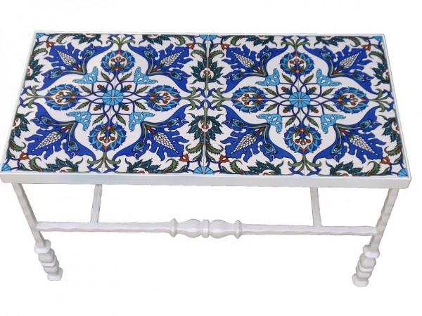 שולחן ברזל מלבני לבן בשילוב קרמיקה