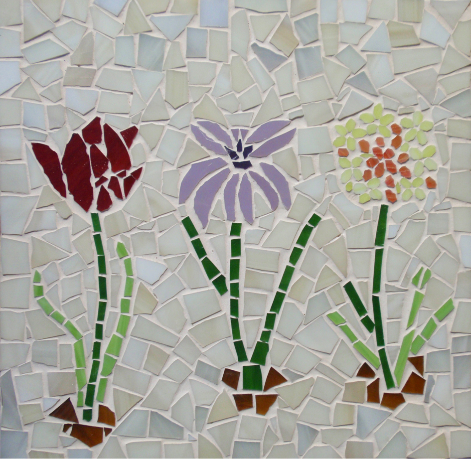 פסיפס שלושה פרחים