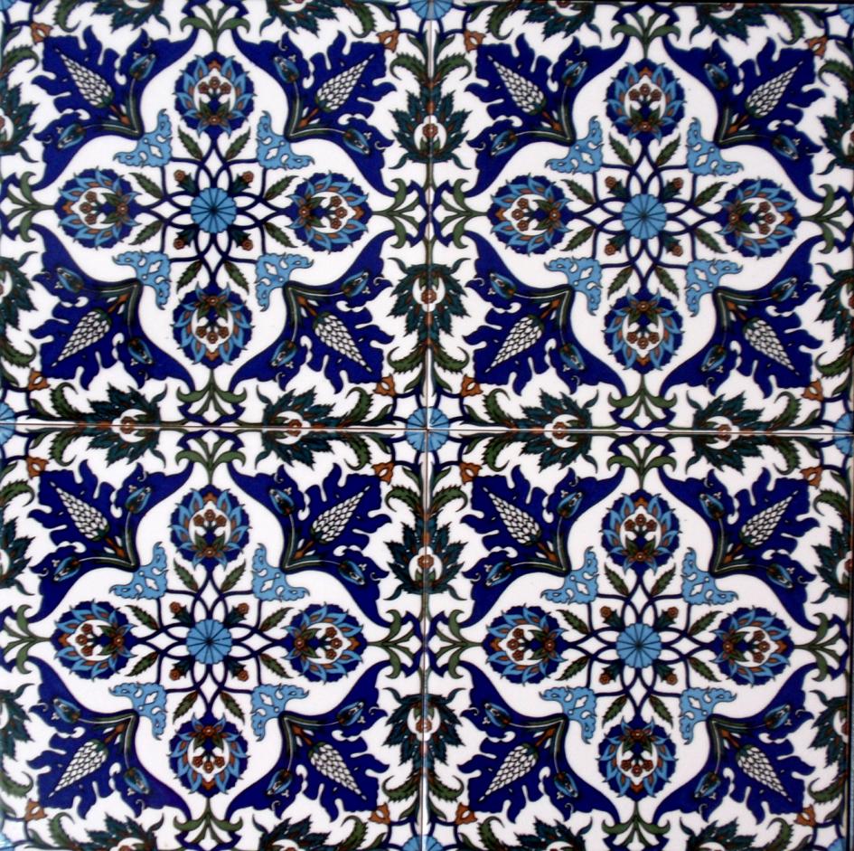 שולחן קרמיקה פרחים - 4 אריחים