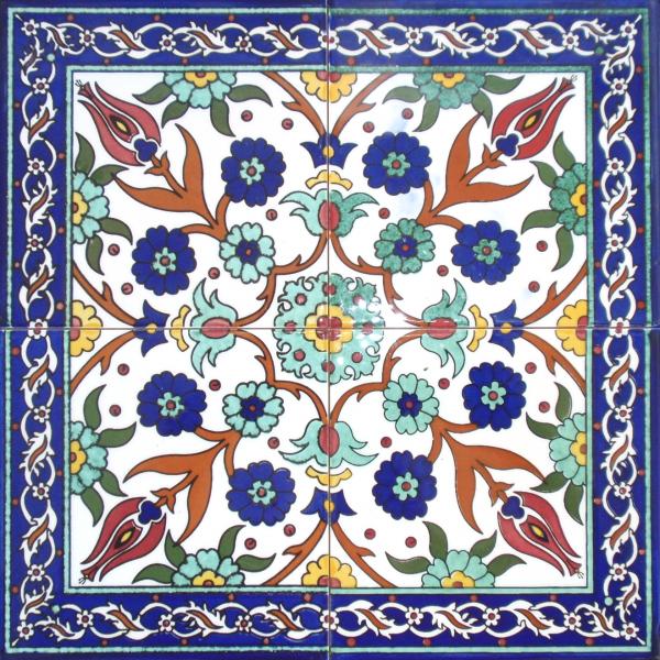 שולחן קרמיקה פרחים במסגרת כחולה