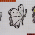 פסיפס שלושה פרפרים