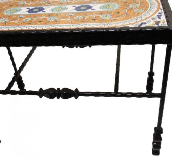 שולחן ברזל מפורזל מלבן קרמיקה פרחים