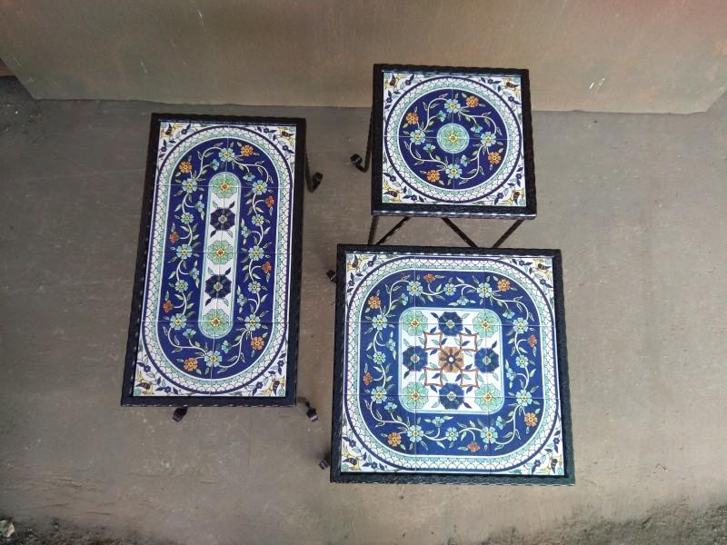 סט שלישיה קרמיקה כחולה עם פרחים