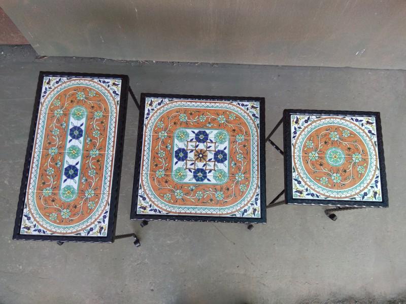 סט שלישיה קרמיקה ארמנית כתומה מעוגלת עם פרחים