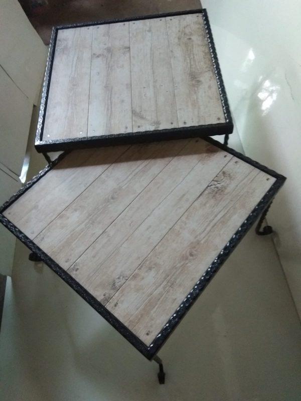 סט שולחנות ברזל קרמיקה דמוית עץ