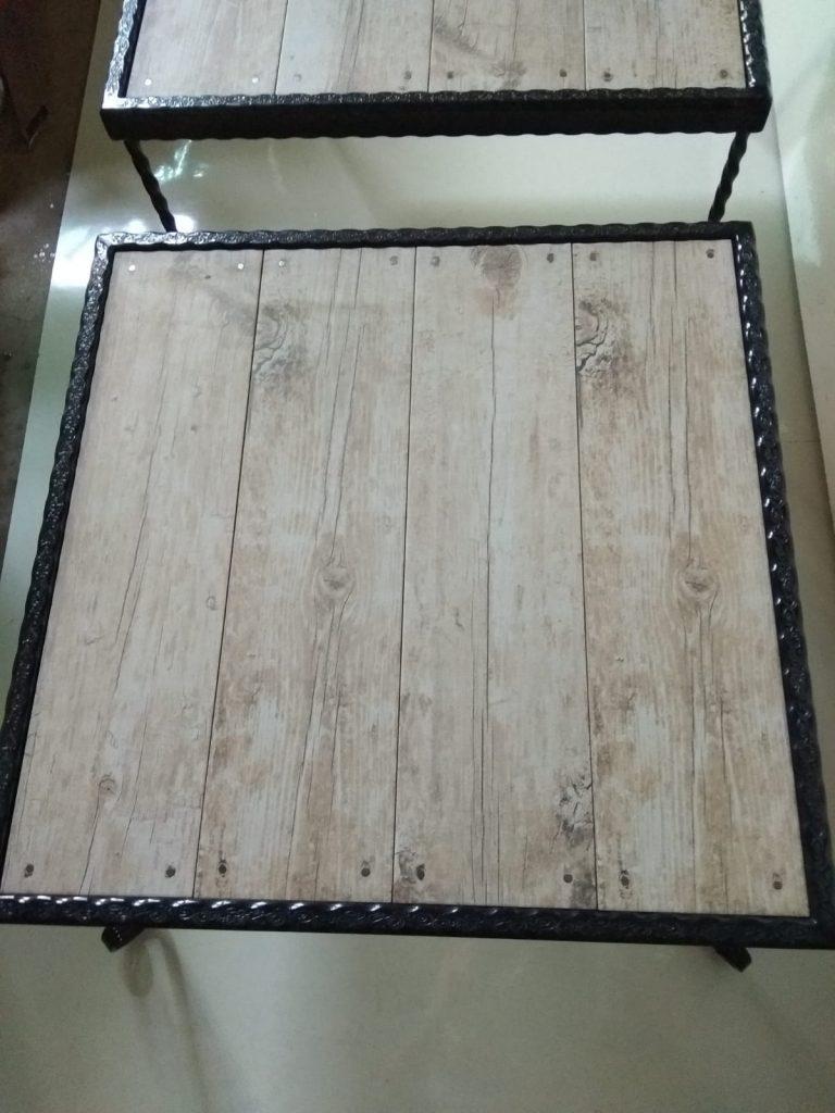 שולחן ברזל קרמיקה דמוית עץ